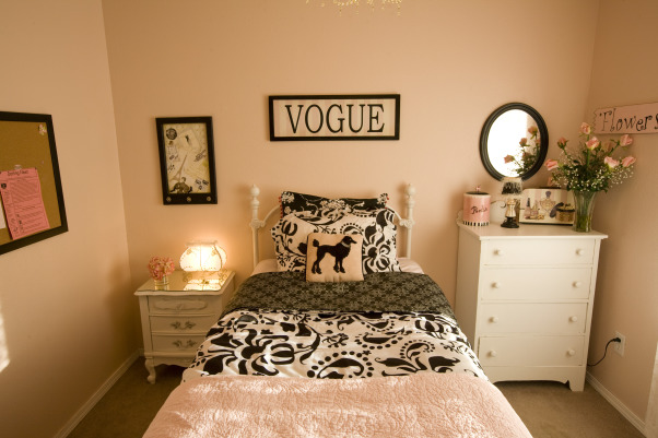 Girls Parisian-inspired bedroom, I created this room for my 8 year old daughter all on thrift store,garage sale finds. Everything was done for under 500.00 including furniture I painted.Just shows you can have beautiful rooms on a budget. I am self-taught decorator that does redo's on small budgets., Girls' Rooms Design