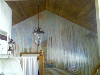 Birch Tree Forest, Entry area cathedral ceiling wall mural, Original Artwork done by David Jon DeWees in entryway of home/ Family room., Living Rooms Design
