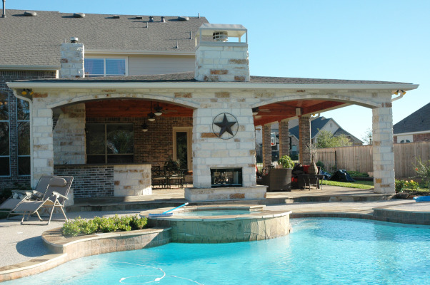Texas Style Outdoor Room / Kitchen, We like to spend time outdoors but in Houston Texas you need a covered space and pool to keep cool most of the year. We designed our outdoor living space to be an extension of the indoors. It includes a sitting area dining area and outdoor kitchen.  We would love to hear what you think!(The palm design over the fireplace is not artwork.  It is a flat screen tv cover.), Patios & Decks Design