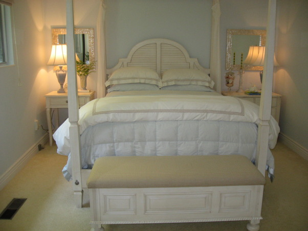 Ocean Inspired Master Bedroom, This bedroom set was purchased at Ethan Allen for my 35th anniversary.thankyou all for the lovely comments you have left me I really enjoy reading them.PAINT COLOR:is a special formula I made up the formula is on the 2nd to the last comment page.  , Bedrooms Design