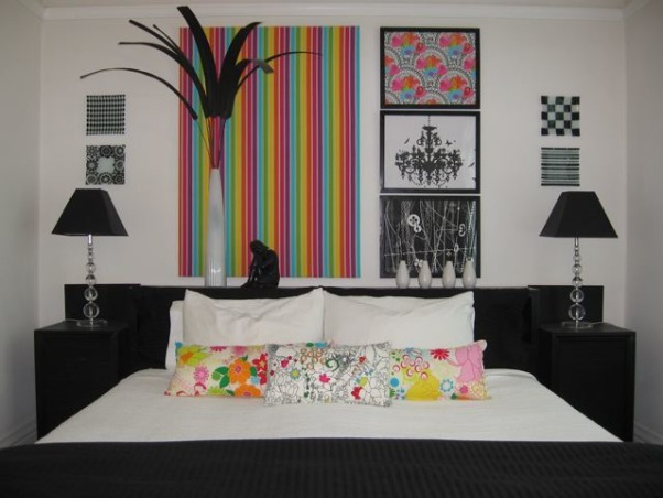 POP goes the bedroom !!!, As an unemployed San Francisco renter i was faced with this challenge. How could i transform my existing bedroom into a bold and modern space without painting and a $200 budget?I used my favorite element.....color..... to create a cheerful comfortable and boldly graphic new bedroom., Bedrooms Design