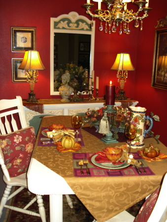"French Country Dining in ""RED""!, Freshly painted and redecorated French Country dining room!, Autumn decor at my home is really lots of fun!  The warm Autumn colors fit right in!, Dining Rooms Design"