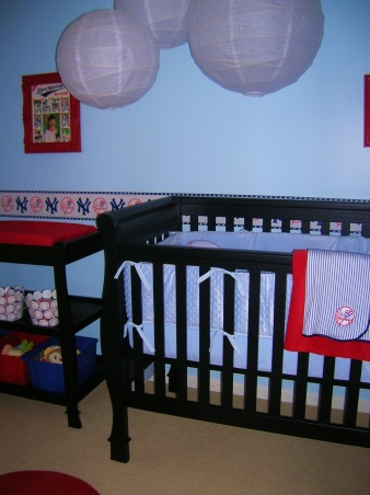 Sonny's Modern NY Yankees Baseball Nursery, Made with lots of love by me and my hubby for our little angel!  The lanterns and rugs are from ikea, storage from target and a ton of the projects were DIY., We plan on putting soft lights in the lanterns and I want to cut out blue stars and hang a few from the ceiling. I tried make some out of foam board and it was a disaster so i have to think of another material :) , Nurseries Design