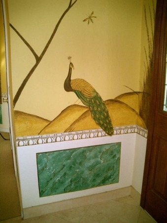 A Tuscany style foyer... , I hand painted this foyer in common Tuscan style.  In the  Italian countryside there isn't a home without  hand painted murals.. , , Living Rooms Design