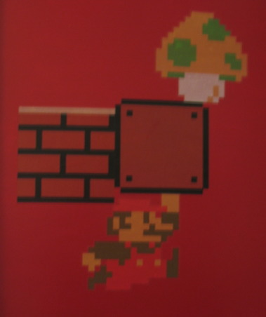 Super Mario Brothers, Classic 80's Super Mario Brothers theme! Includes hand painted canvas of the last level of Super Mario Brothers a hand made quilt of a pixeled Mario and Super Mario wall decals! Lots of work and love!, Front of the bedroom door with Super Mario Decals, Nurseries Design