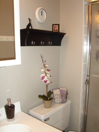 cheap fix, This is our tiny master bath that needing a little freshening up.  I bought paint and a few accessories on clearance.  When I get another free minute I will paint the medicine cabinet black to match the space. , , Bathrooms Design