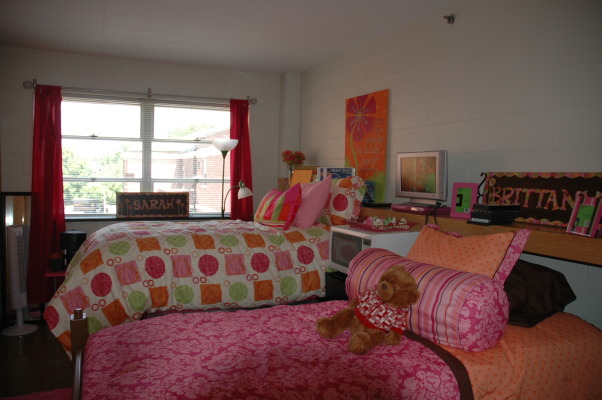 EKU freshman dorm room, My daughter's freshman space - tiny but fun and functional!  Lots of pink and orange with bits of green. , Dorm Rooms Design