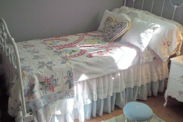 Country Girl Bedroom, This room was put together entirely from second hand finds and total costs of the decor was approx. $200.00, layered bedding of old quilts and a chenille spread, Bedrooms Design