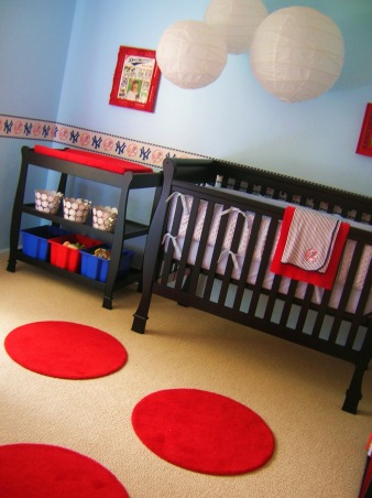 Sonny's Modern NY Yankees Baseball Nursery, Made with lots of love by me and my hubby for our little angel!  The lanterns and rugs are from ikea, storage from target and a ton of the projects were DIY., Nurseries Design
