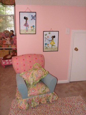 Jada's Big Girl Room, Our daughter just turned 3 so we thought it was time for her to have a big girl room. She loves this space and I am happy we were able to give it to her. It is still a work in progress but this is what we have so far. It is supposed to be butterfly themed but I still have to add some more butterfly accessories. This room is over our garage and used to be our den. We decided to move her room here so that it could double as a playroom. I will update with more pics when the I make changes, I found this chair in a thrift shop and had it reupholstered  to match the rest of the room. The polka dot and blue fabrics were on the remnant table at our local fabric store. Those two pics above the chair are custom paintings. The door in the picture acutally leads to storage. My husband did not want to loose the storage under the roof line. , Girls' Rooms Design