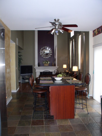 Small Family Room, Potterybarn inspired family room done on a budget!, This is the view from the kitchen.  Gold walls are gone too., Living Rooms Design