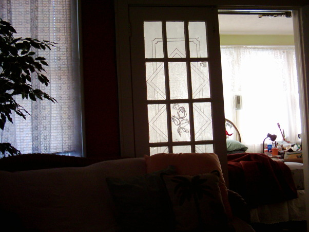 "tissue paper window treatment, French doors are lovely but not when they give you a view of your unmade bed from your living room! Try a tissue paper makeover! These windows were covered with tissue paper ""glued on"" with an egg white and water ""glue"" with the design maked on with common felt tip maker. , , Bedrooms Design"