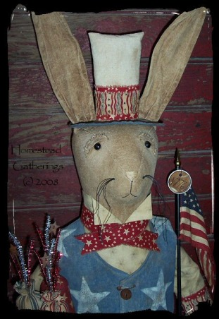 Primitive and Folk Art Creations, These are pictures of some of my folk art primitive creations., Here is a closeup picture of the Patriotic Rabbit, Dining Rooms Design