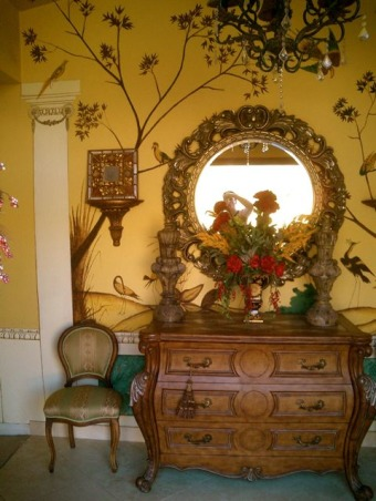 A Tuscany style foyer... , I hand painted this foyer in common Tuscan style.  In the  Italian countryside there isn't a home without  hand painted murals.. , I did choose all the furniture from a store that was going out of business so it was a steal., Living Rooms Design
