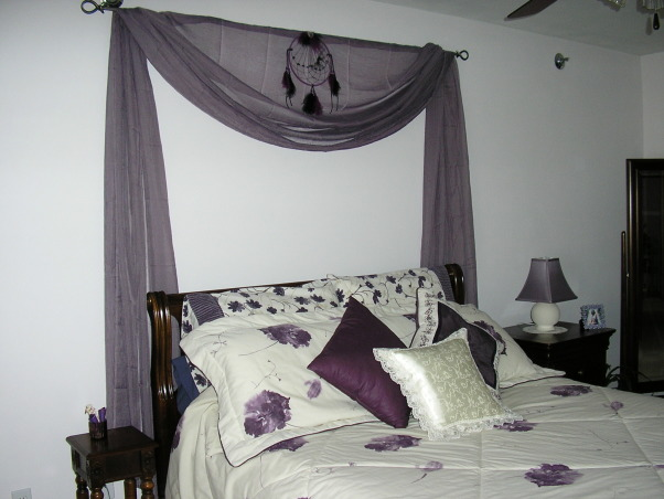 Mauve Bedroom, Mauve is my favorite color and I find it very relaxing so I made my bedroom my favorite room with mauve walls and purple and white bedding., I created a silk headboard in my favorite mauve color., Bedrooms Design