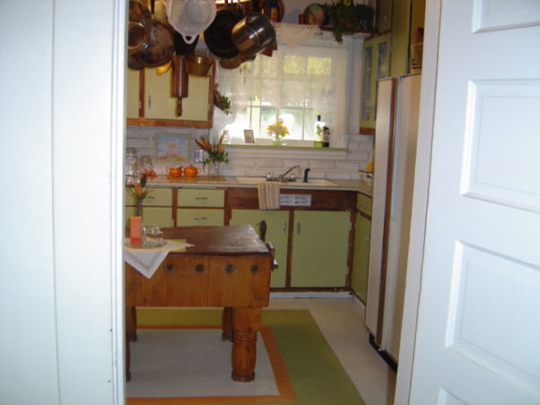 BEACHY COTTAGE KITCHEN, and our kitchen with an antique butchers block painted floors and a wagon wheel pot rack., , Kitchens Design