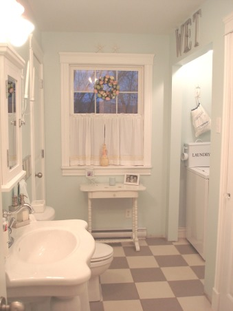 Fresh and pretty bathroom, This is my main bath where I wanted to continue my attempt at vintage style in a new home. It probably has more of a Pottery Barn feel as I don't have a claw foot tub but I  love my medicine cabinet pedestal sink spa blue paint colour and chandelier. It has a fresh look  that I enjoy in a bathroom. I also have my laundry area in here. I love vintage laundry implements. I roam the fleamarkets looking for treasures!, Bathrooms Design