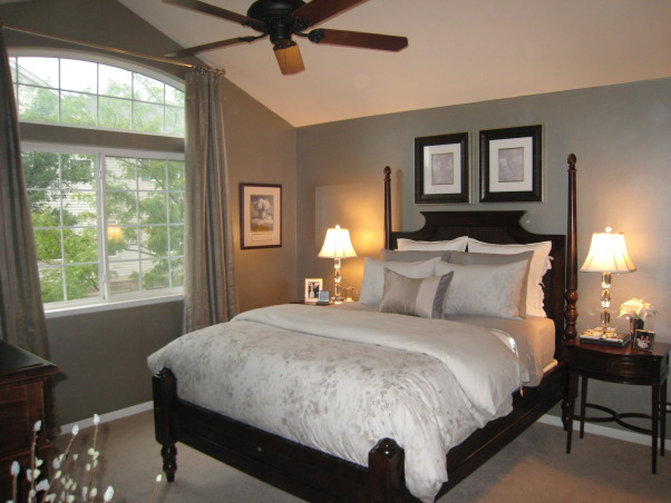 Glamorous Master Bedroom, The monochromatic color scheme in this room was inspired by the bedding. , Bedrooms Design