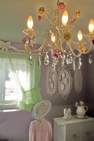 Country Girl Bedroom, This room was put together entirely from second hand finds and total costs of the decor was approx. $200.00, second hand chandelier was spray painted off white and porceline roses were glued on (roses accumulated in yard sales over a few years), Bedrooms Design