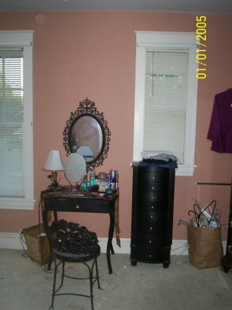 Master bedroom redo on a budget!, Trying to transform an ugly dated space into a retreat.  Still working on it.  Tell me what you think so far!, BEFORE: The antique pieces I use for a vanity are staying, Bedrooms Design