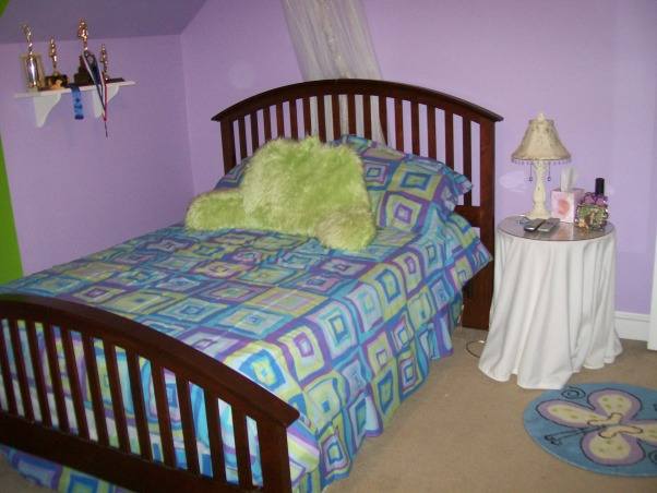 Purple And Green Teen Room, My 13 year old wants new colors and a different bed spread. She loves the green and is tired of  the purple. Shes now loves (lime green) (hot pink) bright orange and yellow.Any advice for her leave a comment. , Girls' Rooms Design