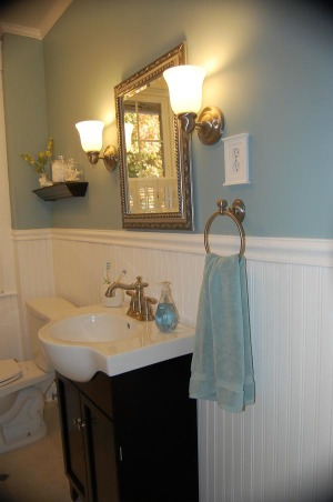 Beachy-Bathroom  Bliss, This is our one and only small bathroom in our 1930's twin home.  It was a total gut job and we spent evenings and weekends a total of 2 months to completely re-do this room.  We are always inspired by Pottery Barn so got some ideas from there.  Wanted to add--the paint color is Buxton Blue by Benjamin Moore.  Enjoy!  Thanks to everyone who have left such glowing comments!!!  Never would we have thought our little bathroom would get such rave reviews.  We just added a few before pics!  , Bathrooms
