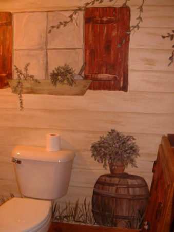 PRIMITIVE Country Painted Bath, Entire home is very primitive country.  Client had me paint guest bath to look as if you were attending your business 'outside' against a lapside(?) house.   Can't remember the term now for that type of panelling.   Anyway fun to create!, Bathrooms Design