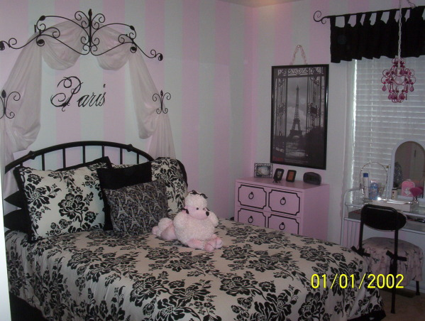 A teens paris dream, A newly decorated paris room for my daughter entering into the teen years., As my daughter was approaching her 13th birthday we wanted to re-do her room in something more grown-up. Although the stripes from floor to ceiling were a bit of a challenge she loves it & that's all that matters. Still plan to add crown moulding and some decorative trim around her bookcases. These pics do not do justice!, Girls' Rooms Design