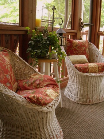 "Welcome to my porch and meet the two old ""ladies"" I rescued from the landfill ! , I picked up these two old chairs dressed them in new ""frocks"" and now they sit on my porch waiting for the next party!  Love second chances don't you? , , Porches Design"