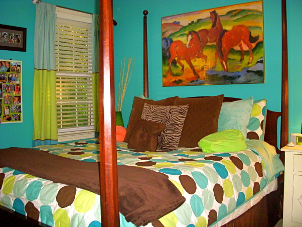 16 year old's bedroom. UPDATED PICTURES!, I redid my room for my 15th birthday. The walls are painted teal (biscay lightened 1 or 2 shades) with a strip of brown above my shelf on one wall. The polka dot comforter is from Target. I ride horses and love them so that really shows through my room like the painting above my bed & my horse frame! My mom & I made my jewelry/ purse boards. My closet doors are completely covered with pictures & words cutout from magazines...I know its pretty crazy but what can i say i'm a teenager!, , Girls' Rooms Design