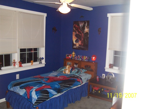 Spiderman room, My little firefighter grew up and passed his room down to my youngest. I had to create him a big boy room with a spiderman theme as requested by him. What started out as his nursery now has grrown with him into a big boy room he is very proud of. Hope you like it. By the way i did the complete transformation in 1 day while he was at school and finished exactly 7 minutes before he got home. Wheeew close., This is how it ended up. Remember i did this entire makeover while my son was at school. Dont be too hard on me when you rate it this was a lot of work really fast. Check out the before pics to follow when it was a nursery., Boys' Rooms Design