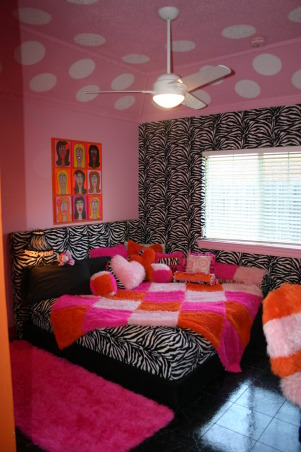 Bridget's Teen Bedroom!!, If you like funky wild and lots of faux fur then you'll love this room!  My daughter made all design decisions---I was just the work horse!  Her friends love it and I do too!, Girls' Rooms Design