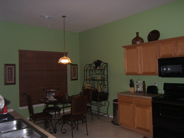 Apple green walls, combined textures balanced together makes a space pleasing to the eye., , Kitchens Design