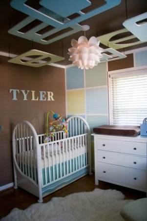 "Modern Baby Boy nursery on a Budget! , We wanted a Modern Boy nursery that looked design quality without the high designer cost.....our total cost including all supplies and furniture was under $800!  The ceiling pieces were cut from  5/8"" plywood and painted to match the block wall.  We gave the look of crown molding by taping and painting to create this illusion.  We were inspired by another design we found and improved upon it  to fit our own style and taste. We used no VOC paint throughout and organic bedding.  , Finished the night before Mommy went into labor!  This project took longer than expected because of the celieng pieces and the amount of taping in the painting process but our little boy loves it!, Nurseries Design"