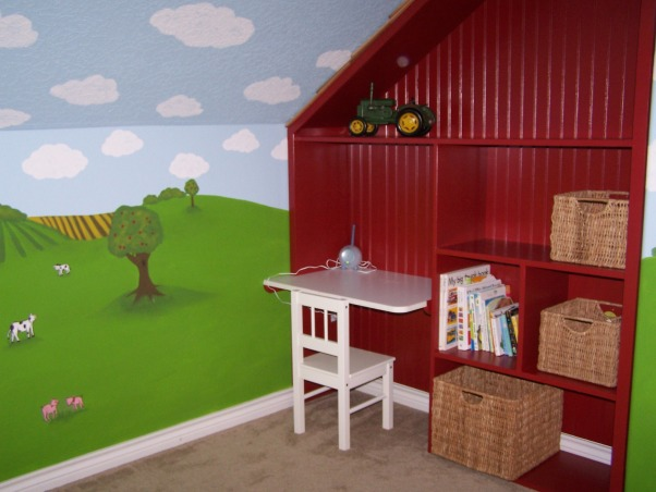 Toddler Tractor Bedroom, I created this space for my 2-year-old son who was moving out of his nursery.  His passion is for tractors so I wanted a nice looking farm room that wasn't overly John Deere themed.  I hired a muralist to paint the walls (scenes inspired by a baby quilt my BFF made) my wonderful uncle built the barn desk/bookcase and I found a cute quilt to match., Custom barn bookcase that my uncle made for my son., Boys' Rooms Design