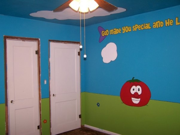"Veggie Tales Nursery, First baby's nursery! We aren't finding out the sex of the baby until we meet him/her for the first time. We loved the idea of a ""christian"" themed nursery but aren't big fans of Noah's Ark decor so...Veggie Tales it is , , Nurseries Design"