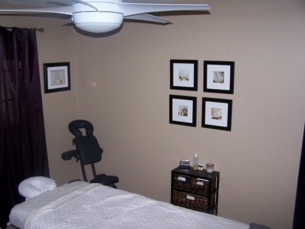 MY MASSAGE ROOM, I AM A MASSAGE THERAPIST AND WORK OUT OF MY HOME THIS IS MY ROOM I JUST PAINTED AND FINISHED TODAY... ANY SUGGESTIONS? , MOVED PICTURES IN A SQUARE PATTERN  FOR SOME REASON WHEN I TAKE THE PHOTOS THE WALL WITH THE PICTURES LOOKS BIGGER MAKING THE PICTURES LOOK SMALLER. BUT WITH THE NAKED EYE IT LOOKS PROPORTIONED ANY IDEA WHY?, Bedrooms Design