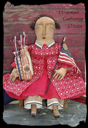 Primitive and Folk Art Creations, These are pictures of some of my folk art primitive creations., Heres another new Primitive Patriotic doll I just finished creating., Dining Rooms Design