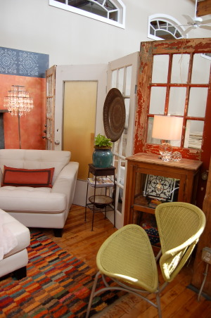 19th Century Eclectic Studio, My faux-finishing studio in a beautifully restored 19th-century flannel factory., I've used about 15 old doors discovered at a salvage yard and hinged to create divider walls. , Living Rooms Design