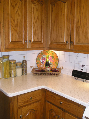 Vineyard Theme Kitchen, I love the deep reds and golds.  Since my living room is also decorated in those colors and open to the eating area of my kitchen it was important that the colors flow., We added light strips to the underside of the cabinets and it accents the display., Kitchens Design