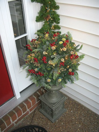 Christmas Comes To A Southern Front Porch, This is my Southern Front Porch all decorated for Christmas. I used lighted garland topiaries and a large wreath to welcome guests to my home for the holidays! , A closer look at my Christmas topiary., Porches Design