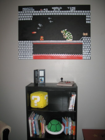 Super Mario Brothers, Classic 80's Super Mario Brothers theme! Includes hand painted canvas of the last level of Super Mario Brothers a hand made quilt of a pixeled Mario and Super Mario wall decals! Lots of work and love!, This is the third wall with a hand painted one of a kind canvas and book shelf with sound plushies!, Nurseries Design
