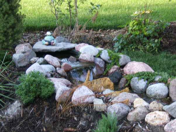 DIY Backyard Koi Pond, Here is our backyard pond that we installed ourselves using Aquascape MicroPond kit.  The pond is home to koi and goldfish., Yards Design