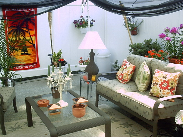 MY BACKYARD IN BROOKLYN New YORK, In my Brooklyn NY backyard outdoor carpet is used as ground cover beach towel as wall art lots of colorful pillows and plants are used in this space. My Brooklyn New York backyard is an out door room off my Condo unit., , Yards Design