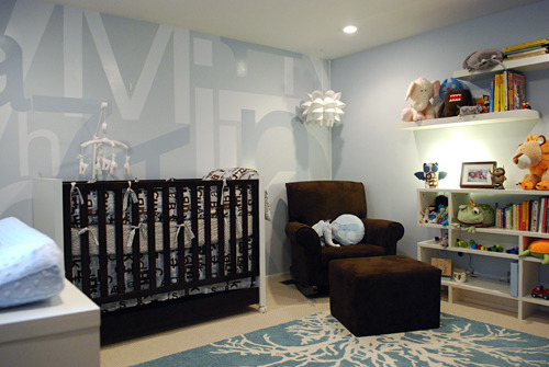 Modern Boy's Nursery, We wanted to create a boy's nursery that had a modern touch and could provide some visual stimulus.  The mural on the wall mimic's the bedding that showcases letters and numbers.  , Thank you all so much for the great remarks!                , Nurseries Design