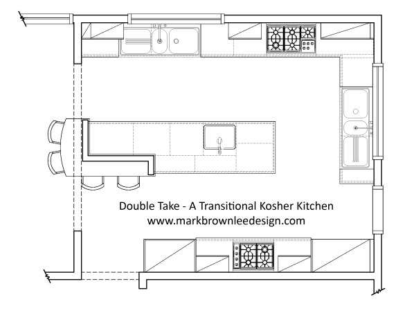 Double Take - A Transitional Kosher Kitchen, When my client approached me to design her kitchen only two things mattered 1) she wanted something that was somewhere in between traditional and contemporary [easy enough] and 2) it had to be a kosher kitchen [interesting].  Two-toned cabinets engineered stone countertops sleek stainless steel appliances and a sparkling blend of glass and metal tiles for the backsplash set up a beautiful palette for a hardworking kitchen where form had to follow function.  www.markbrownleedesign.com, Floor plan of the kitchen.  www.markbrownleedesign.com, Kitchens Design