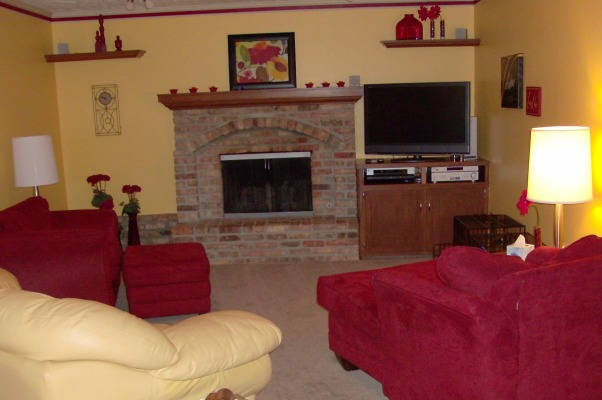 Warm Yellow & Red Livingroom, A yellow and red warm living room. Italian inspired. At least I think it is my mom did it so I don't really know., , Living Rooms Design