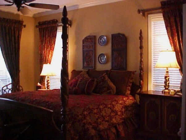 WARM COZY TRADITIONAL FRENCH COLONIAL MASTER BEDROOM WARM RED