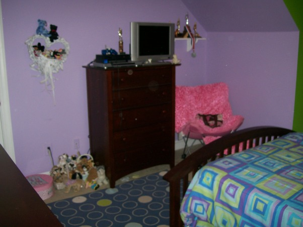 Purple And Green Teen Room, My 13 year old wants new colors and a different bed spread. She loves the green and is tired of  the purple. Shes now loves (lime green) (hot pink) bright orange and yellow.Any advice for her leave a comment. , , Girls' Rooms Design
