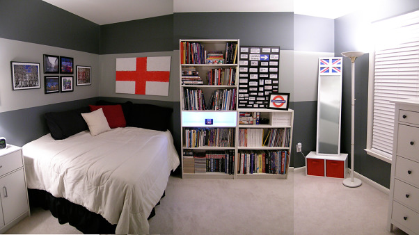 London Inspiration Bedroom, I wanted to incorporate my love of London into my room so I combined photographs with art that I created inspired by the graphic designs of the flags and underground symbol. The color palette clean lines and elements like under-shelf lighting remind me of the sleek modern elements of that awesome city!, Here's a panorama of my bedroom inspired by elements of one of my favorite cities London England! Thanks for checking it out!, Bedrooms Design